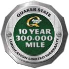Quaker State 10-Year 300,000-Mile Lubrication Limited Warranty